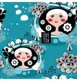 White hair scandinavian girl seamless pattern vector image