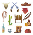 wild west icon cowboys country western symbols vector image