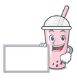 with board raspberry bubble tea character cartoon vector image vector image