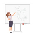 young faceless chemistry woman teacher standing at vector image vector image