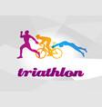 color flat logo triathlon figures vector image