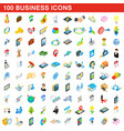 100 business icons set isometric 3d style