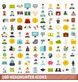 100 headhunter icons set flat style vector image vector image