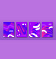 abstract purple 3d fluid background design set vector image