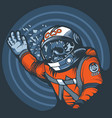 astronaut with a broken glass a spacesuit vector image