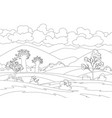 autumn landscape field with trees and vector image