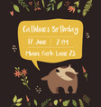 babirthday invitation card funny cute badger vector image vector image