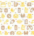 beer and oktoberfest signs seamless pattern vector image vector image