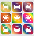 Car icon sign Nine buttons with bright gradients vector image vector image