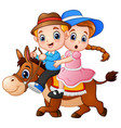 cartoon boy and girl riding a horse vector image vector image