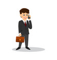 cartoon businessman talking on the phone vector image vector image