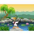 Cartoon funny duck presenting vector image vector image