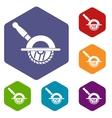 Circular saw icons set vector image vector image