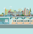 cityscape with subway train station platform vector image vector image