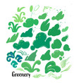 collectin of abstract grass and bushes vector image vector image