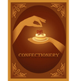 Confectionery sign with almond cake vector image vector image