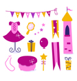 cute elements for little princess party vector image vector image