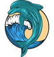 dolphin who is jumping out of sea water vector image