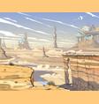 fantastic city desert concept art vector image vector image