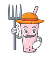 farmer raspberry bubble tea character cartoon vector image vector image