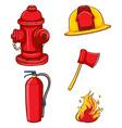 Fireman equipment vector image