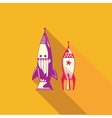 Flat icon of rocket vector image vector image
