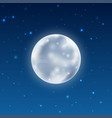 full glowing realistic moon with stars vector image