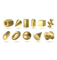 golden geometric shapes realistic 3d metal vector image