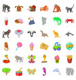 good zoo icons set cartoon style vector image vector image