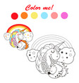 hand drawn outlined funny unicorns coloring book vector image vector image