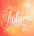 hand lettering label - enjoy autumn - with doodle vector image vector image