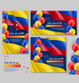 happy colombian independence day posters set vector image