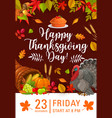 happy thanksgiving day flyer invitation vector image vector image