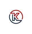 k letter circle line logo icon design vector image