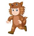 kid wearing a werewolf mask vector image
