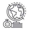 knowledgebookappleglobus line icon sign vector image vector image