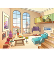 Light Living Room with a Mezzanine vector image vector image