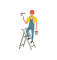 male painter with roller in hand standing on step vector image vector image