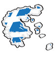 map of greece with its flag vector image vector image