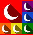 moon sign set of icons with vector image
