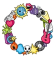 Music party kawaii frame Musical instruments vector image vector image