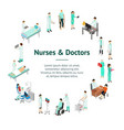 nurses attending patients banner card circle vector image vector image