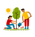 people plant trees in flat cartoon style saving vector image