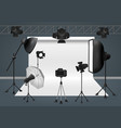 photo studio with camera lighting equipment flash vector image vector image