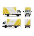 realistic cargo vehicle advertising mockup design vector image vector image