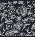 seamless pattern with hand drawn chalk monstera vector image