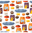 seamless pattern with various cat items vector image vector image