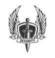 security winged shield with sword design element vector image vector image