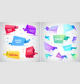 set 3d origami faceted bubbles banners vector image vector image