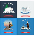 set of wild north posters banners in flat vector image